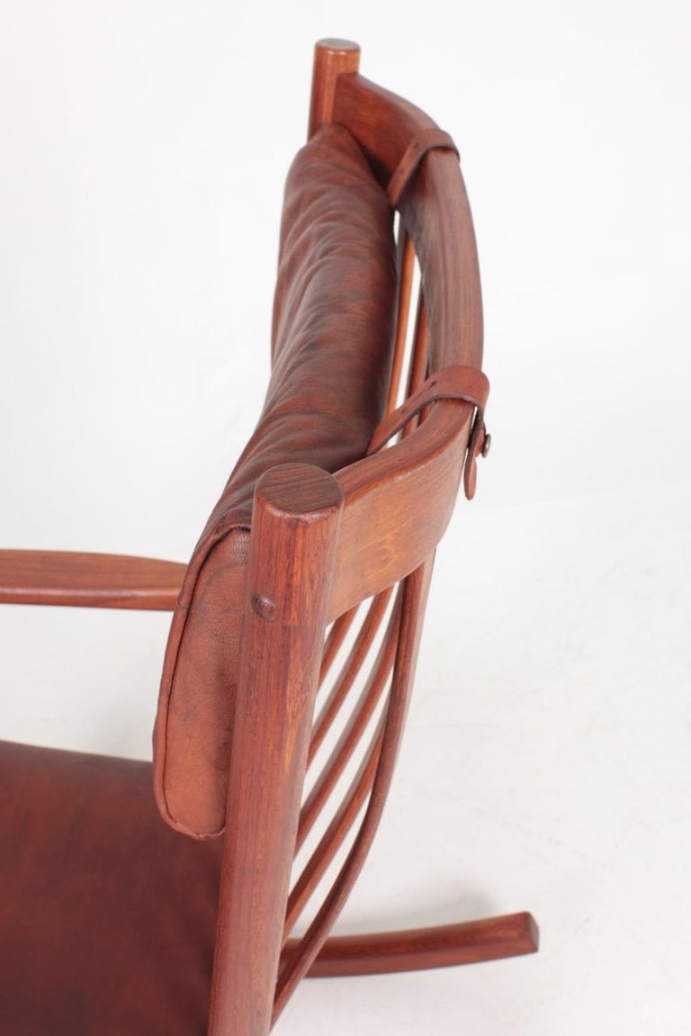 Swedish Midcentury Scandinavian Modern Rocking Chair in Teak & Patinated Leather, 1960s For Sale