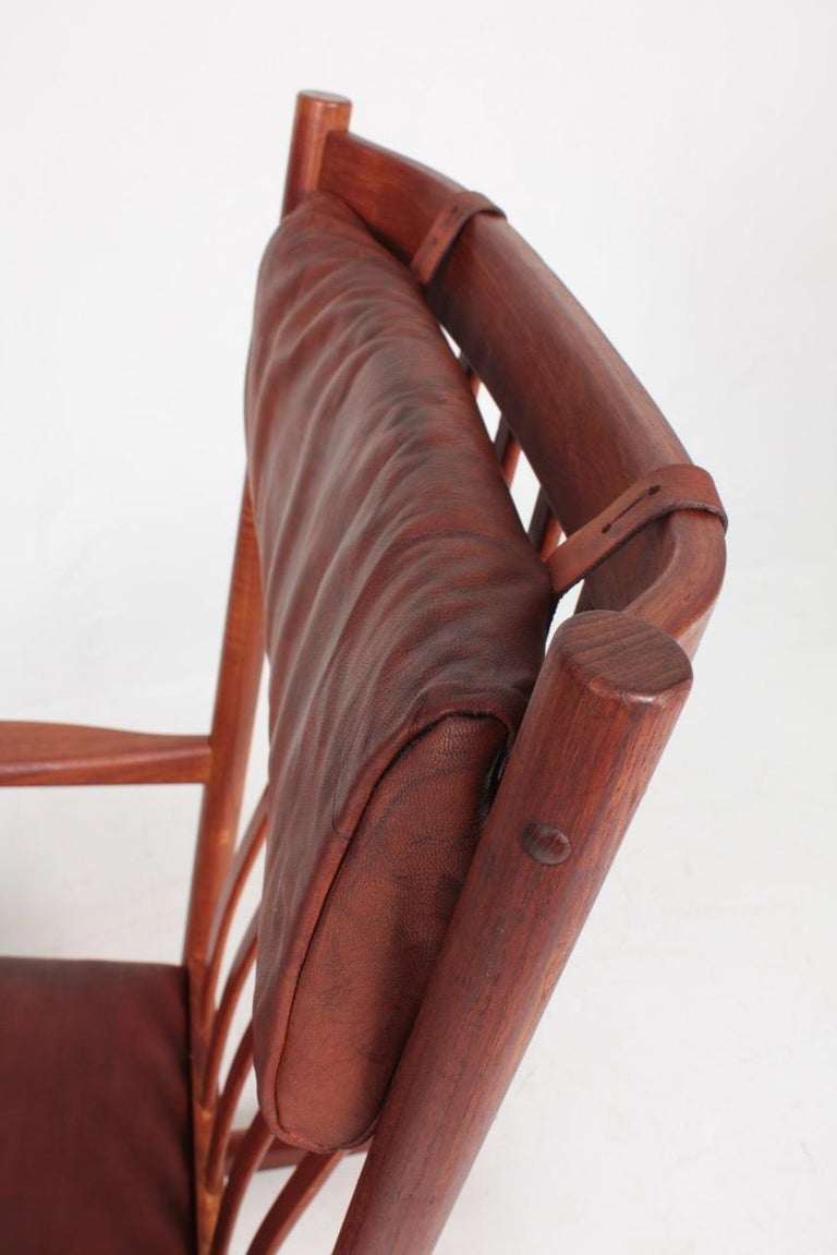 Midcentury Scandinavian Modern Rocking Chair in Teak & Patinated Leather, 1960s In Good Condition For Sale In Lejre, DK