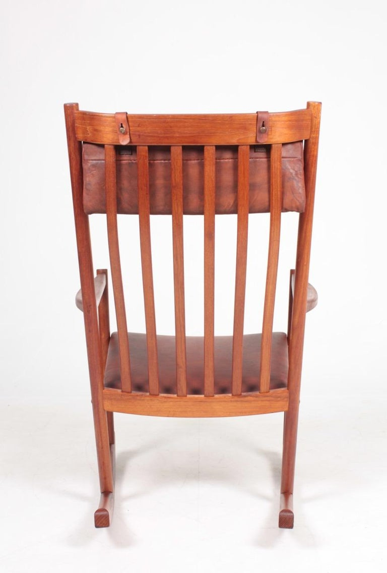 Mid-20th Century Midcentury Scandinavian Modern Rocking Chair in Teak & Patinated Leather, 1960s For Sale