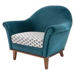 Mid-Century Scandinavian Modern Velvet Turquoise Armchair, Sweden, 1950