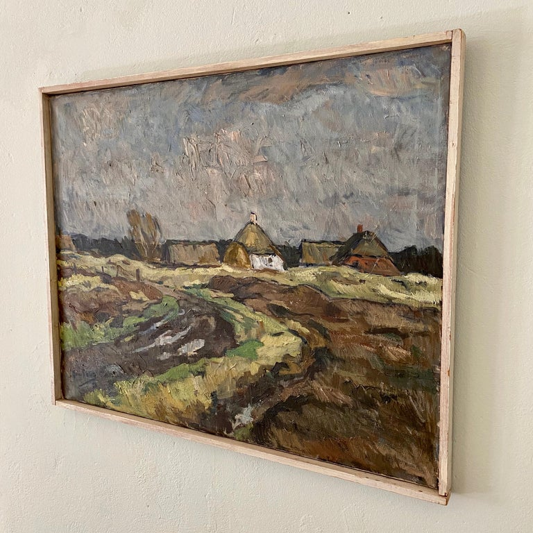 Mid-Century Modern Midcentury Scandinavian Oil Painting of a Landscape in Original Frame, Denmark For Sale