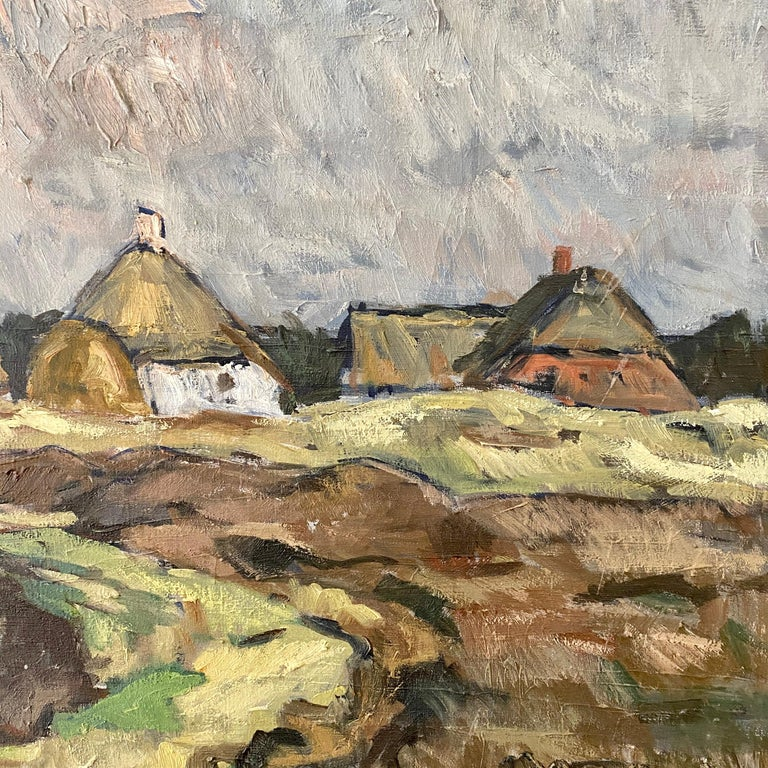 Hand-Painted Midcentury Scandinavian Oil Painting of a Landscape in Original Frame, Denmark For Sale