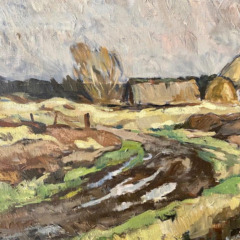 Midcentury Scandinavian Oil Painting of a Landscape in Original Frame, Denmark In Good Condition For Sale In Berlin, DE