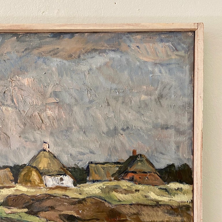 Mid-20th Century Midcentury Scandinavian Oil Painting of a Landscape in Original Frame, Denmark For Sale