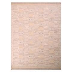 Mid-Century Scandinavian-Style Rug Cream Beige Geometric Pattern by Rug & Kilim
