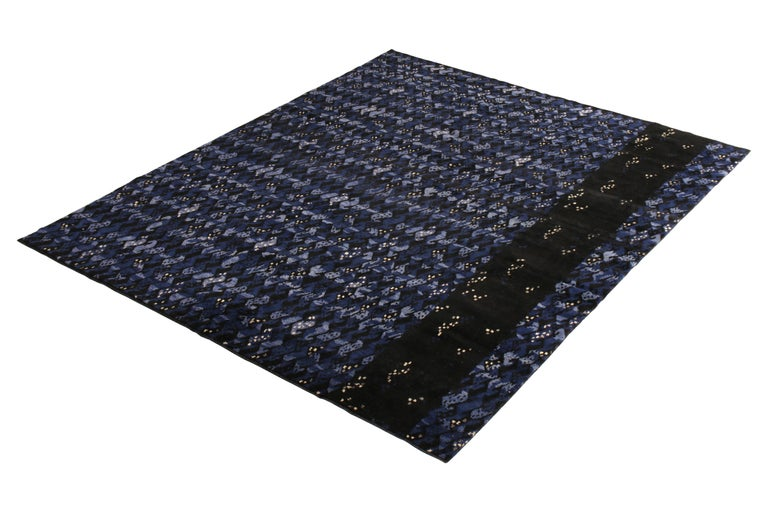 Hand knotted in texturally soft, durable wool pile, this modern 9 × 12 rug hails from the latest pile additions to Rug & Kilim's Scandinavian collection, a celebration of Swedish modernism with new large scale geometry and exciting vintage colorways