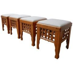 Midcentury Scandinavian Upholstered Stools
