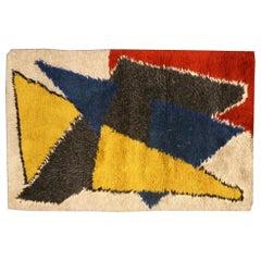 Midcentury Scandinavian Yellow, Blue, Red & Black Handwoven Wool Rug
