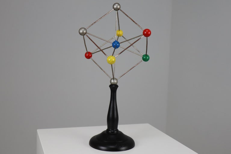 Mid-century decorative ball-and-spoke scientific crystal model from Czechoslovakia from the 1950s. Made for educational reasons, used for classroom demonstration and study. In good condition with signs of age and patina.