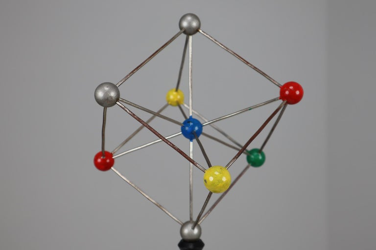 Mid-Century Modern Mid-Century Scientific Crystal Model on Wooden Base For Sale