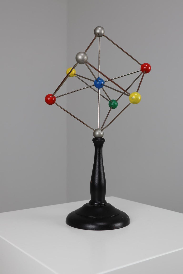 Czech Mid-Century Scientific Crystal Model on Wooden Base For Sale
