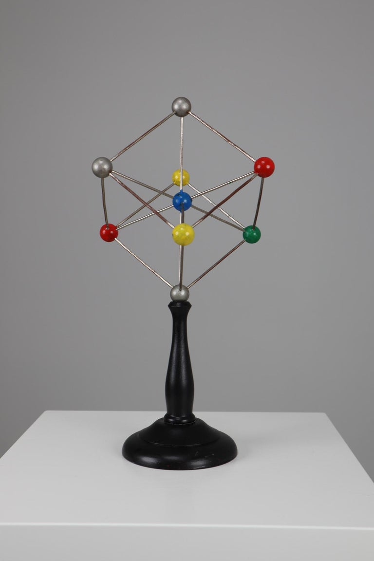 Metal Mid-Century Scientific Crystal Model on Wooden Base For Sale