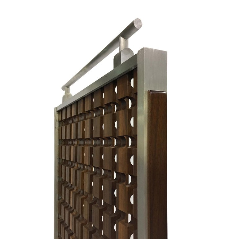 American Midcentury Screens, Walnut and Aluminum For Sale