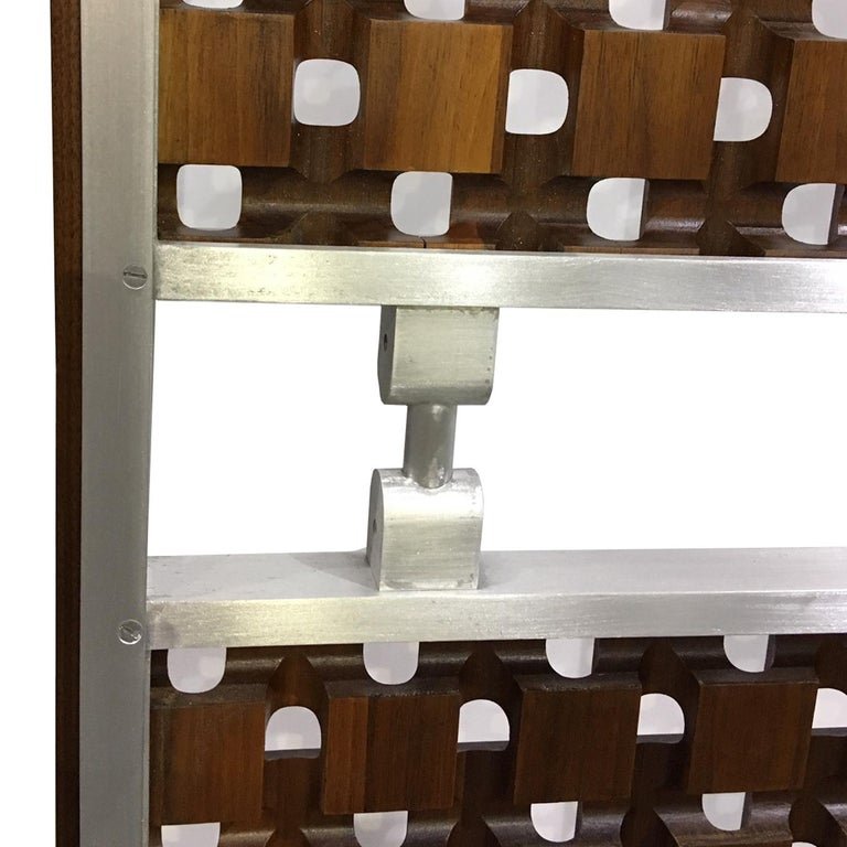 Mid-20th Century Midcentury Screens, Walnut and Aluminum For Sale
