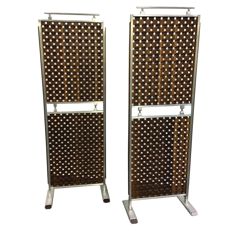 Midcentury Screens, Walnut and Aluminum For Sale