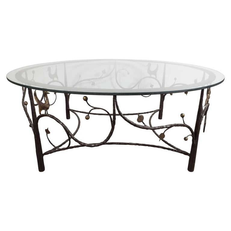 Midcentury Scrolling Bronze Coffee Table with Flora and Fauna Motifs