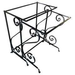 Midcentury Scrolling Iron Patio Nesting Side Tables with Glass Tops, Pair