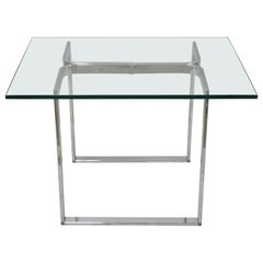 Mid Century Sculpted Chrome Base Rectangular Glass Top Occasional Side Table