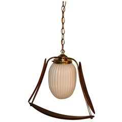 Mid Century Sculpted Hanging Swag Lamp Chandelier Pendant Light