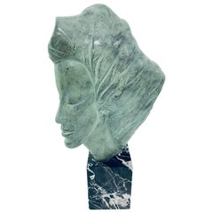 Midcentury Sculpted Resin Sculpture on Marble Base by Peggy March