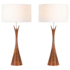 Midcentury Sculpted Walnut Table Lamps by Modernera Lamp Co.