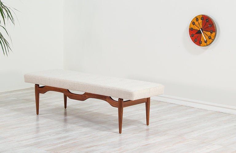 American Midcentury Sculpted Walnut and Tufted Bench For Sale