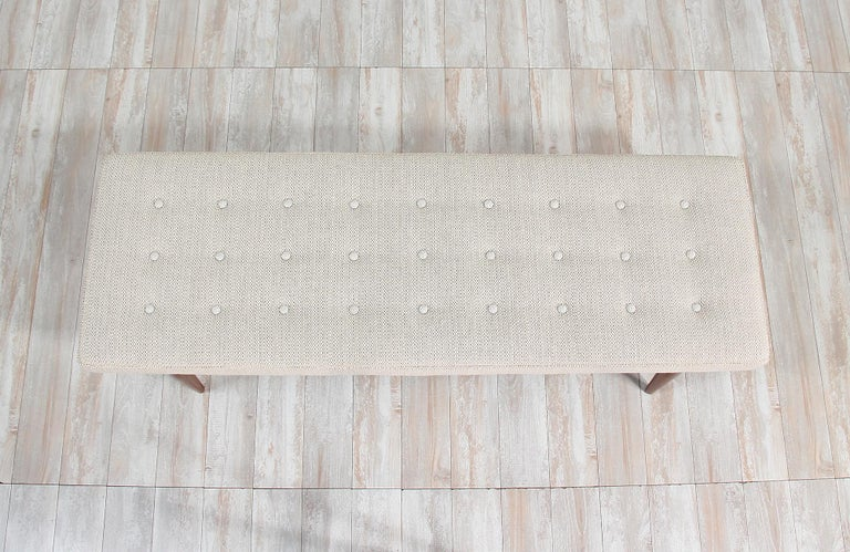 Midcentury Sculpted Walnut and Tufted Bench In Excellent Condition For Sale In Los Angeles, CA