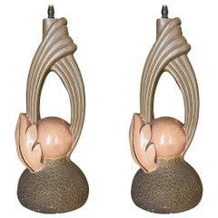 Midcentury Sculptural Art Pottery Lamp Pair, circa 1950