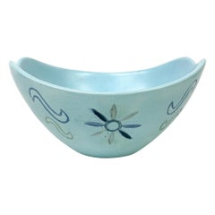 Mid Century Sculptural Baby Blue Pottery Bowl Signed Bea Grant, 1965
