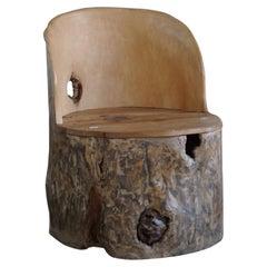 Mid-Century Sculptural Brutalist Norwegian Stump Chair in Solid Wood