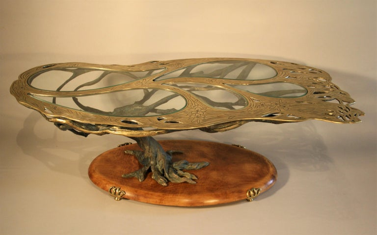 Midcentury Sculptural Cast Bronze Coffee Table For Sale 4