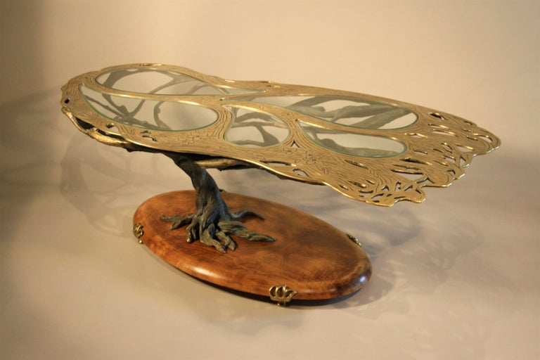 Midcentury Sculptural Cast Bronze Coffee Table For Sale 7