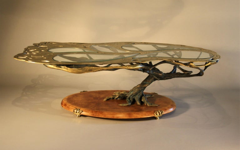 Midcentury Sculptural Cast Bronze Coffee Table For Sale 9