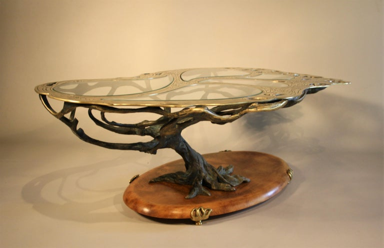 Midcentury Sculptural Cast Bronze Coffee Table For Sale 1