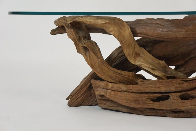 Midcentury Sculptural Driftwood Coffee Table with Biomorphic Freeform Glass Top For Sale 5