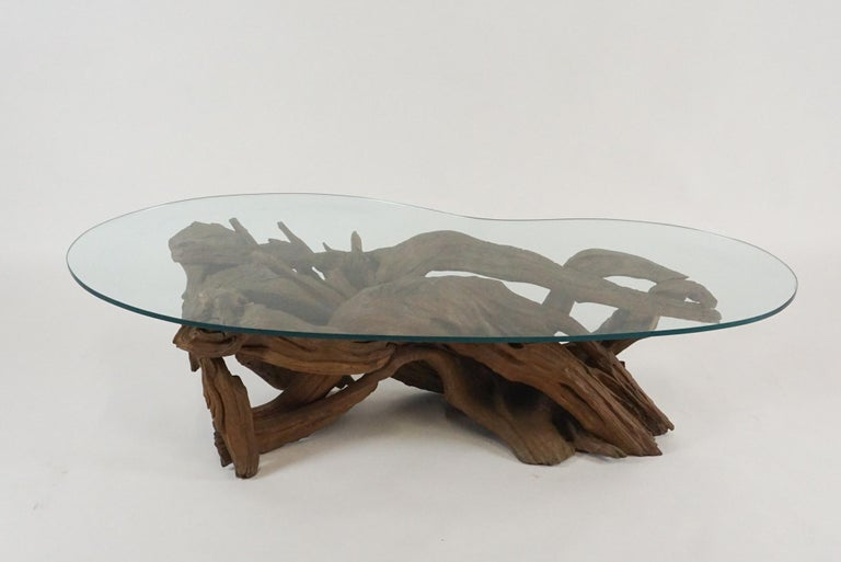 Midcentury Sculptural Driftwood Coffee Table with Biomorphic Freeform Glass Top For Sale 6