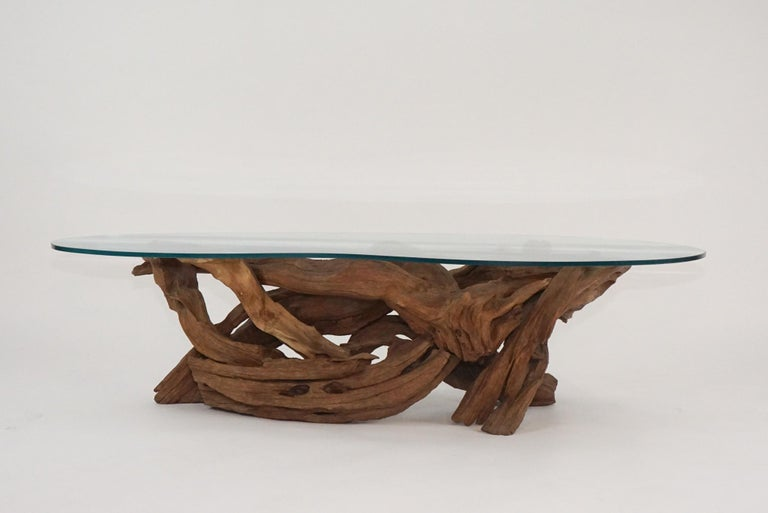 Midcentury Sculptural Driftwood Coffee Table with Biomorphic Freeform Glass Top For Sale 2