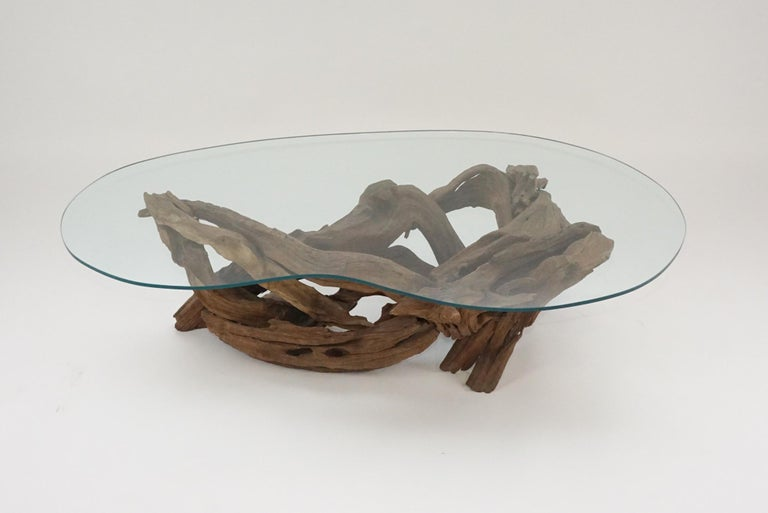 Midcentury Sculptural Driftwood Coffee Table with Biomorphic Freeform Glass Top For Sale 3