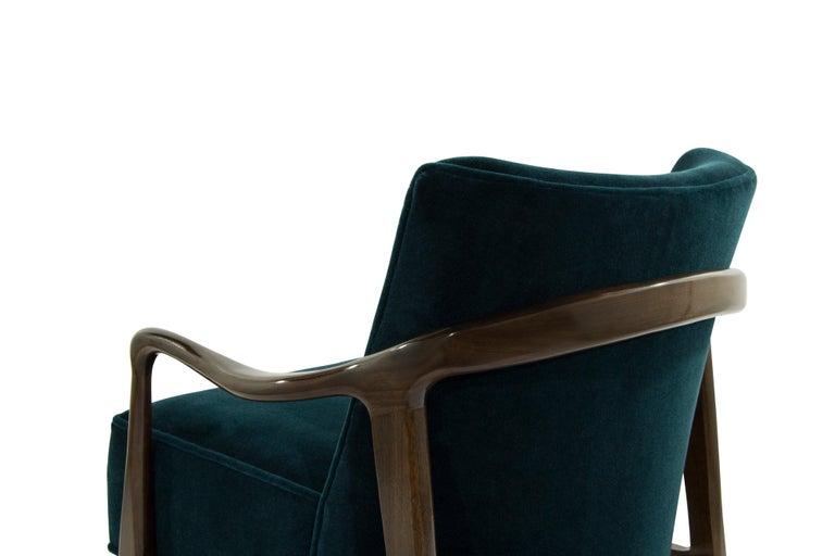 Midcentury Sculptural Gio Ponti Style Walnut Lounge Chairs, 1950s For Sale 4