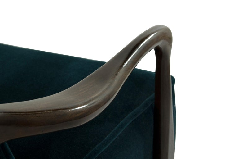 Midcentury Sculptural Gio Ponti Style Walnut Lounge Chairs, 1950s For Sale 6