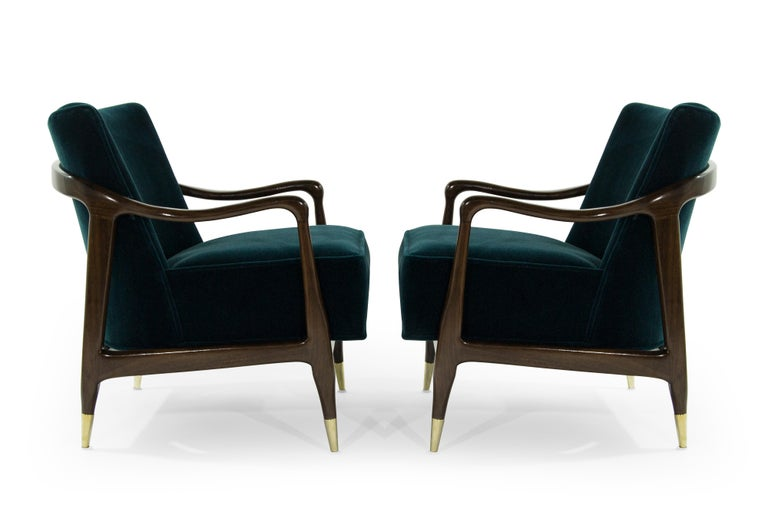 Mid-Century Modern Midcentury Sculptural Gio Ponti Style Walnut Lounge Chairs, 1950s For Sale