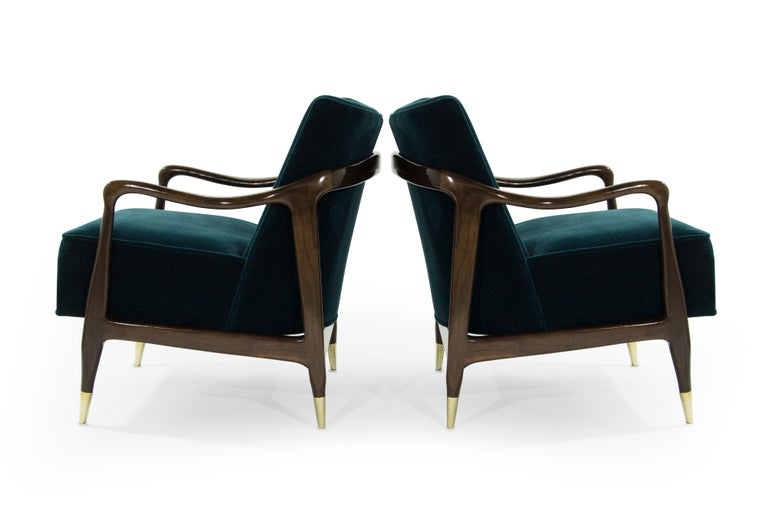 20th Century Midcentury Sculptural Gio Ponti Style Walnut Lounge Chairs, 1950s For Sale