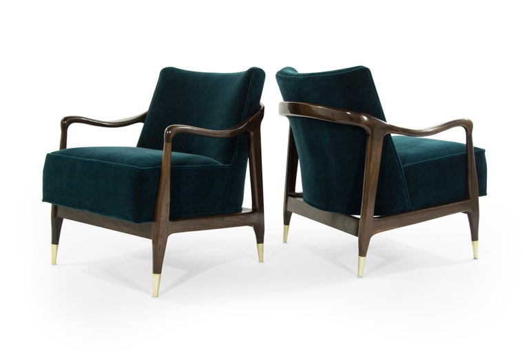 Brass Midcentury Sculptural Gio Ponti Style Walnut Lounge Chairs, 1950s For Sale