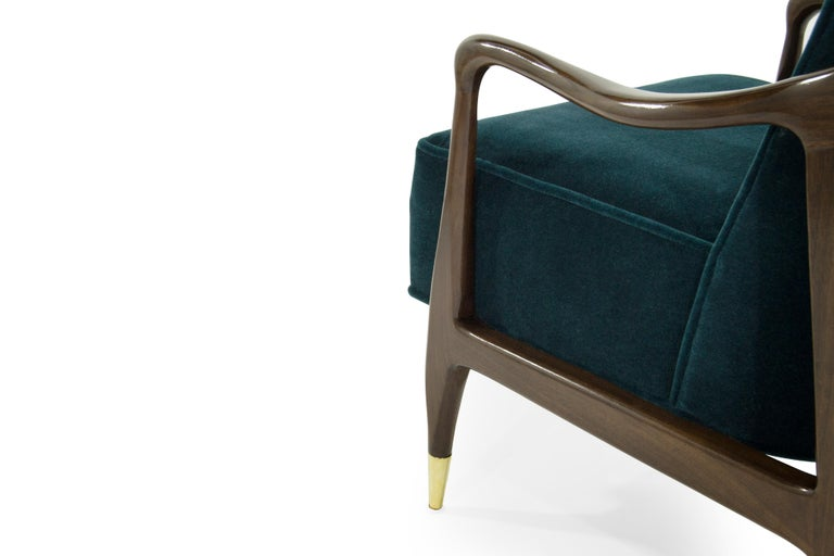 Midcentury Sculptural Gio Ponti Style Walnut Lounge Chairs, 1950s For Sale 1