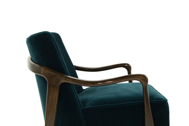 Midcentury Sculptural Gio Ponti Style Walnut Lounge Chairs, 1950s For Sale 2