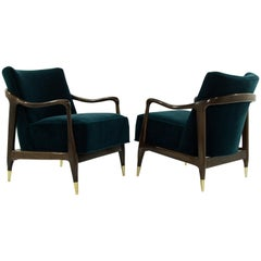 Midcentury Sculptural Gio Ponti Style Walnut Lounge Chairs, 1950s