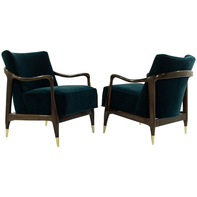 Midcentury Sculptural Gio Ponti Style Walnut Lounge Chairs, 1950s For Sale
