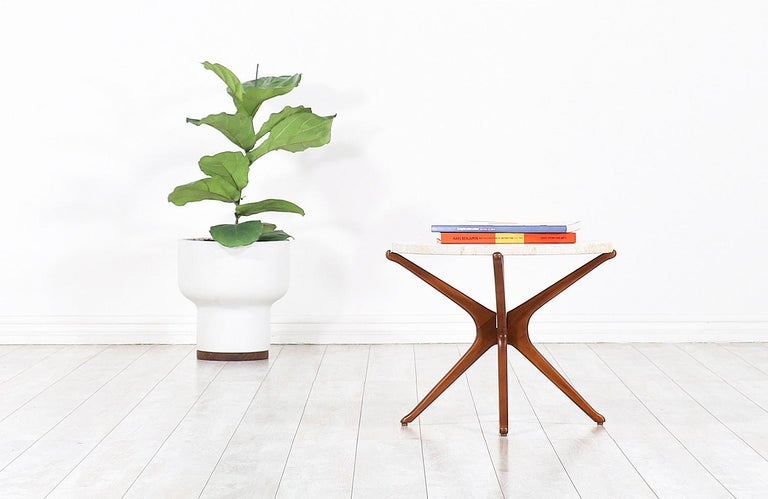Mid-Century Modern Midcentury Sculptural Jax Side Table with Marble Top For Sale
