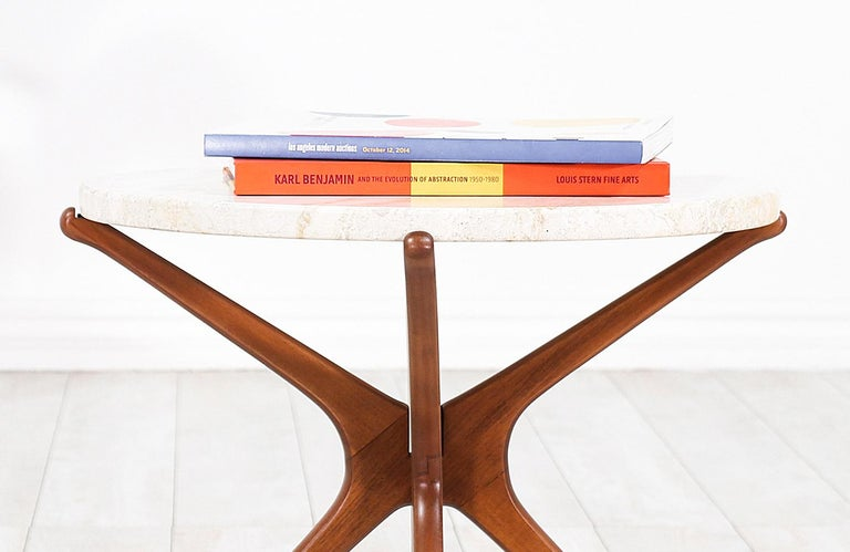 Polished Midcentury Sculptural Jax Side Table with Marble Top For Sale
