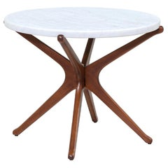 Mid-Century Sculptural Jax Side Table with Marble Top
